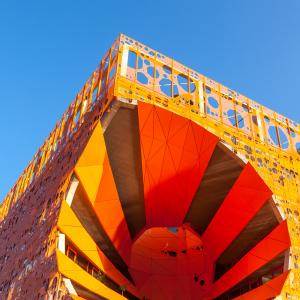 orange design cube in Confluence Jakob+MacFarlane © Dvoevnore/Shutterstock.com