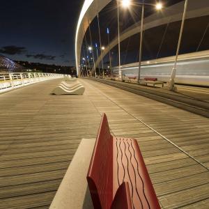 """Le pont Raymond Barre . . Une ancienne photo que je ressors car elle vient de remporter le 1er prix du jury d'un concours. Elle est visible dans une expo intitulée """"Ponts et passerelles autour de la Confluence"""" à la Mairie de Lyon 7eme jusqu'à mardi 30 janvier. . http://www.promenades-et-sante.net ."""